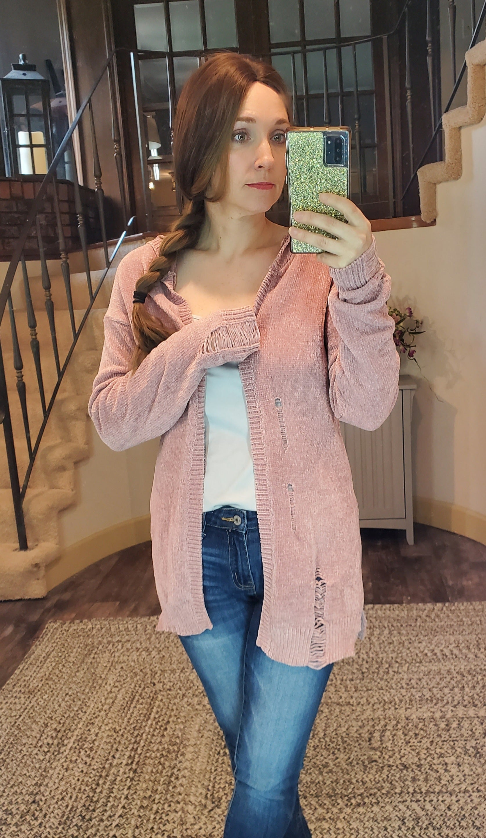 Blush Distressed Hoodie Chenille Cardigan