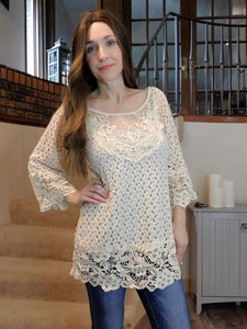 Ivory Crochet and Lace Top