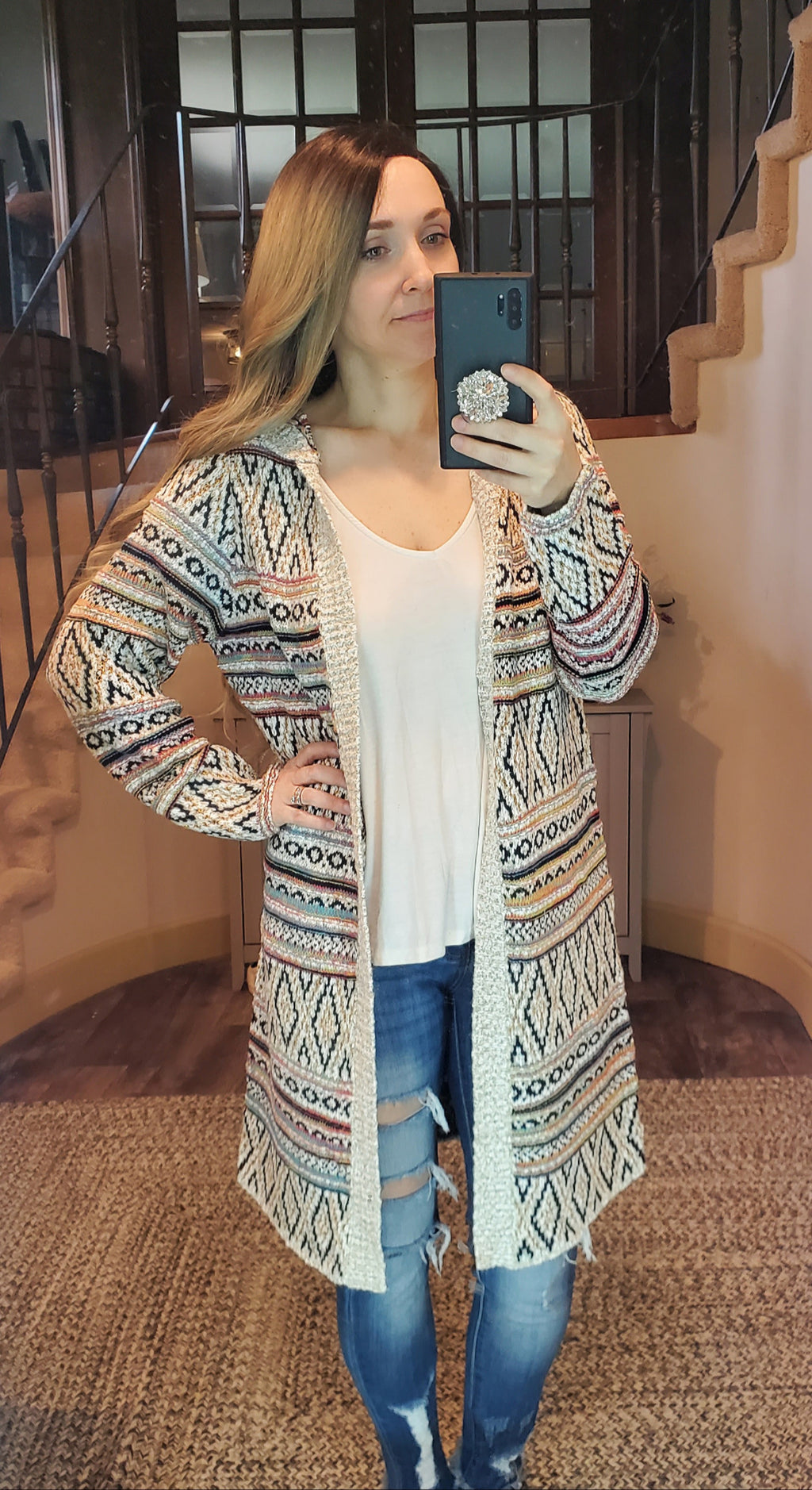 Multicolor Hooded Sweater
