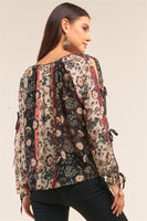 Black Multi Floral Self Tie Detail Chiffon Top