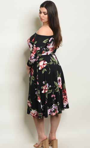 Plus Size Black Floral Dress - winsome-boutique