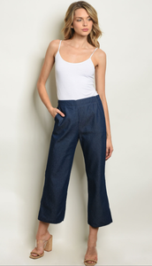 Fitted Ankle Length Denim Chambray Pants - winsome-boutique