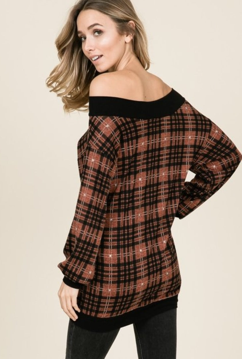 Plaid Off Shoulder Top - winsome-boutique