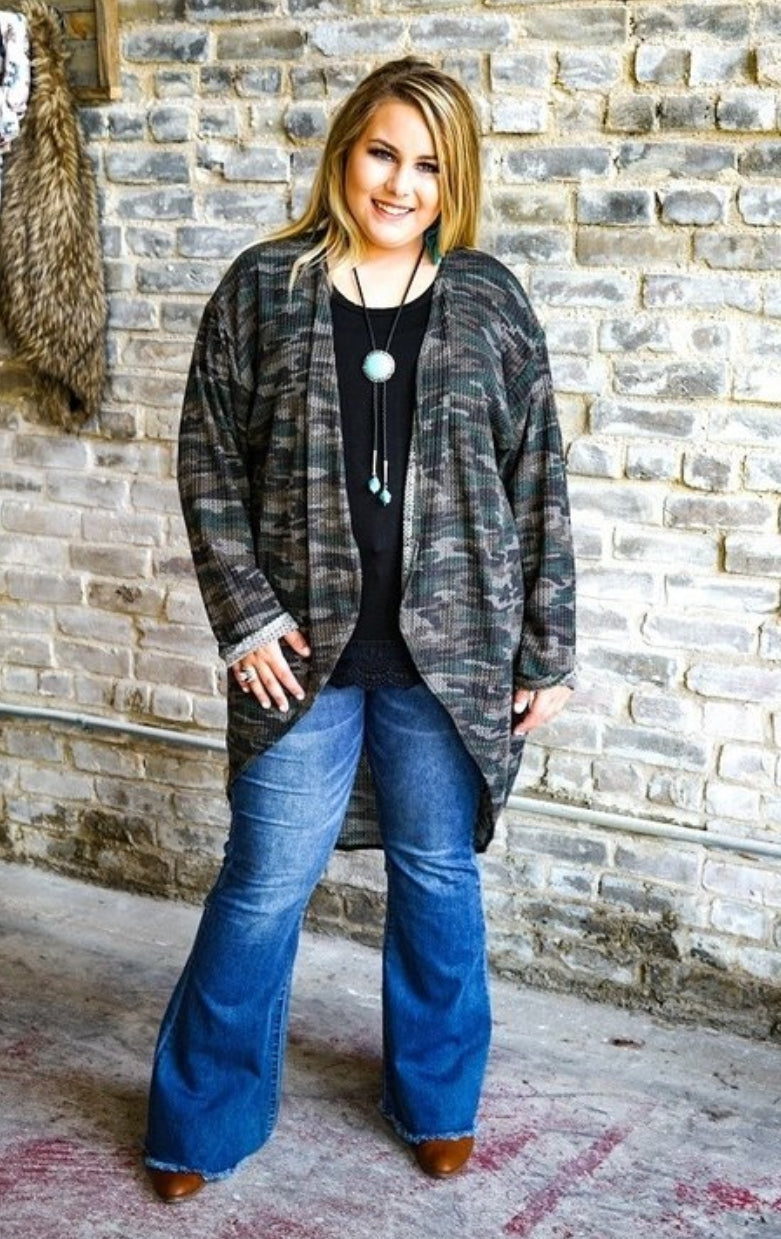 Plus Size Camo Cardigan - winsome-boutique