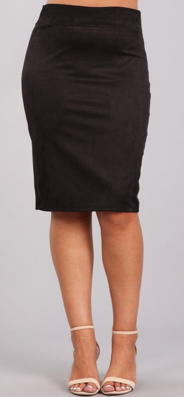 Plus Size Faux Suede Pencil Skirt