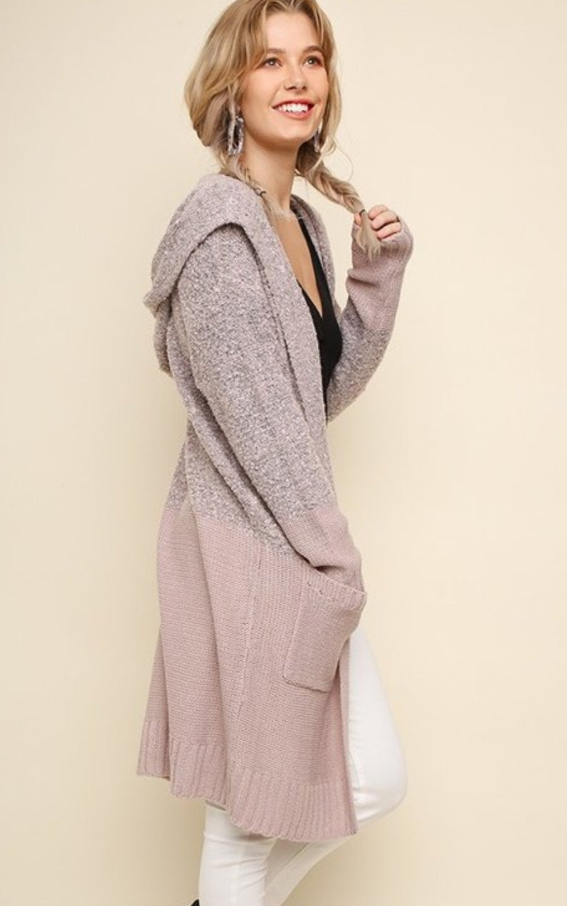Knit Long Hooded Cardigan