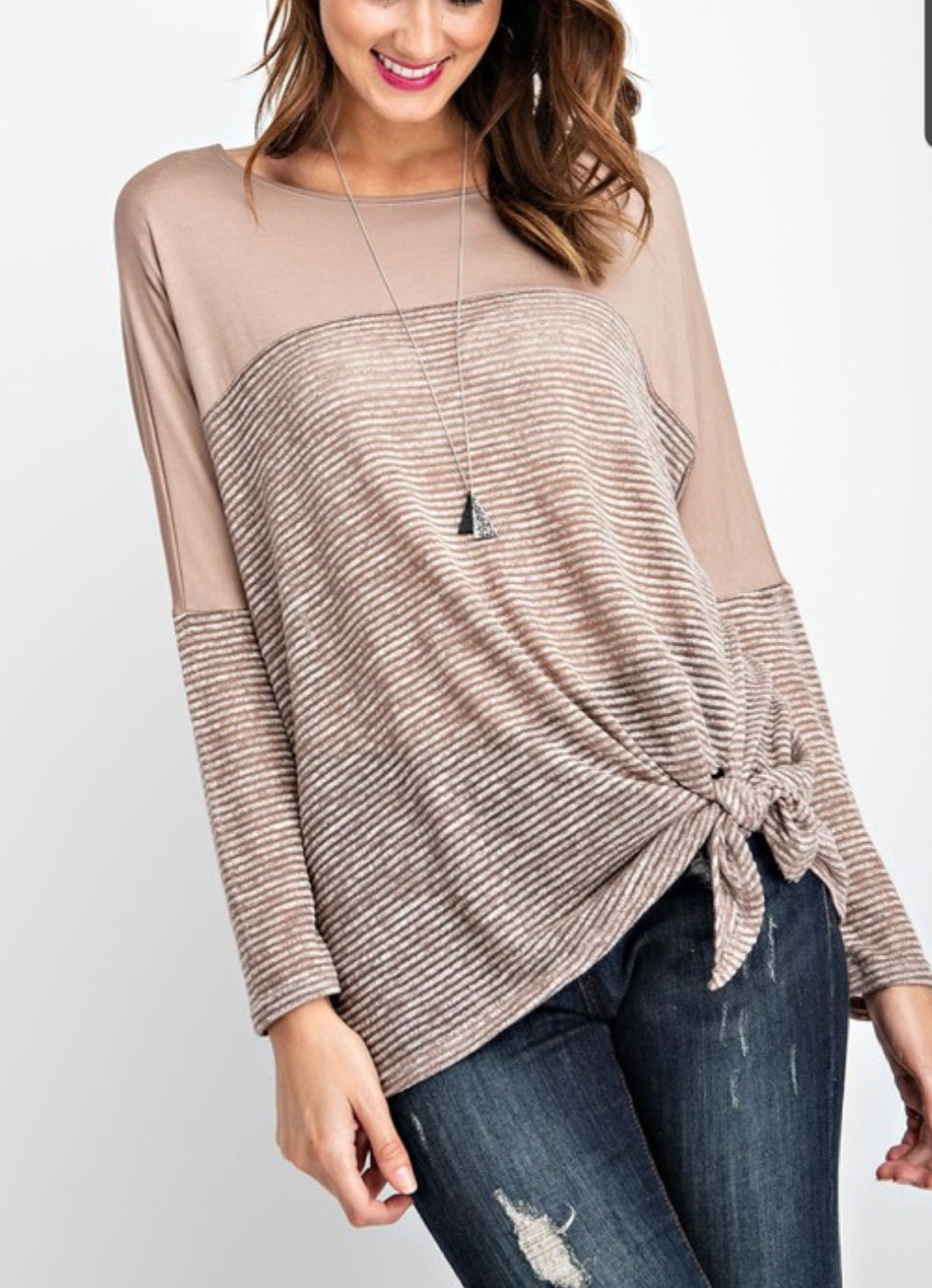 Stripe Hacci Tie Knit Top