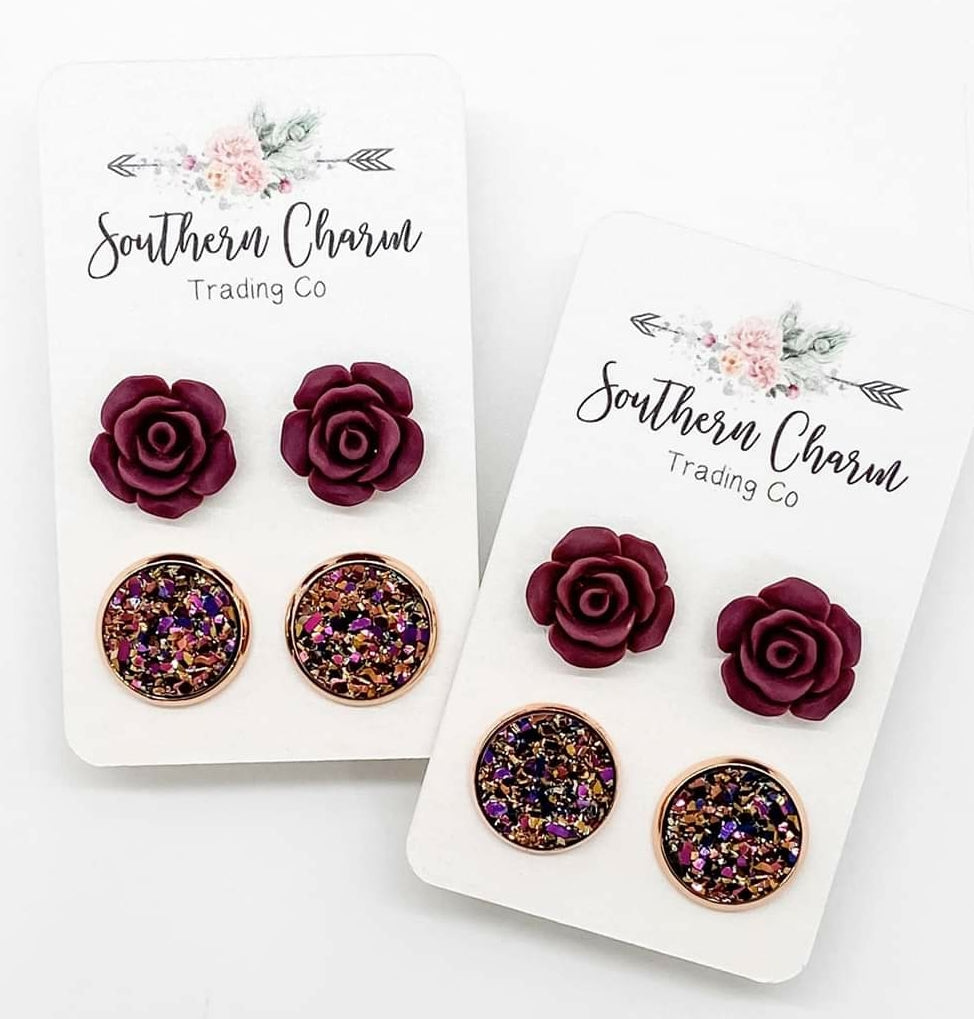 12mm Burgundy Roses & Iridescent Gold Earrings