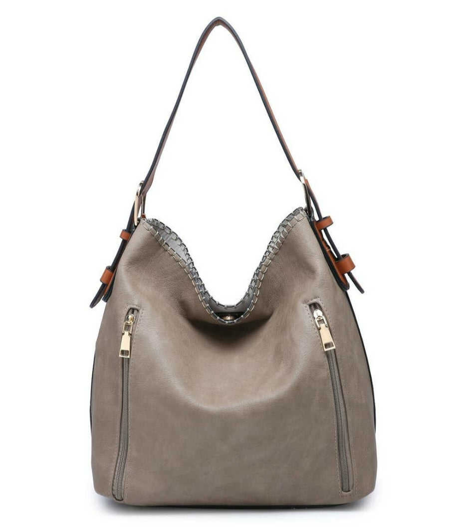 2 in 1 Concealed Carry Hobo Bag- Khaki