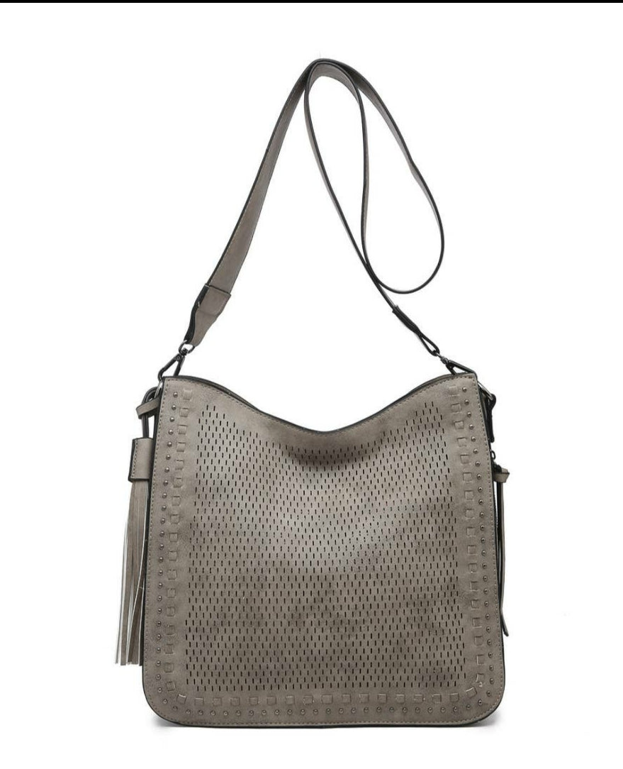 Concealed Carry Lazercut Studded Crossbody- Gray
