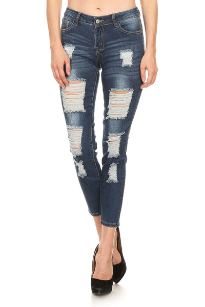 Mid Rise Ripped Stretch Skinny Jeans - winsome-boutique