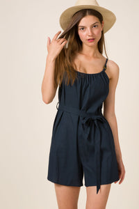 LINEN CAMI SELF BELTED WOVEN ROMPER - winsome-boutique