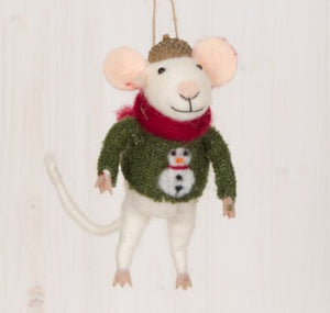 Woollen Mouse Green Jumper, Hanging Decoration