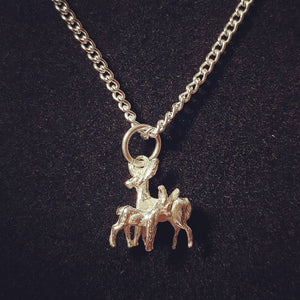 Deer and Fawn Sterling Silver Necklace