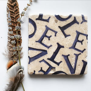 Jumbled LOVE coasters