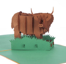 Load image into Gallery viewer, Highland Cow Pop Up Card