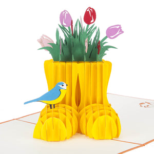 Spring Wellingtons Pop Up Card