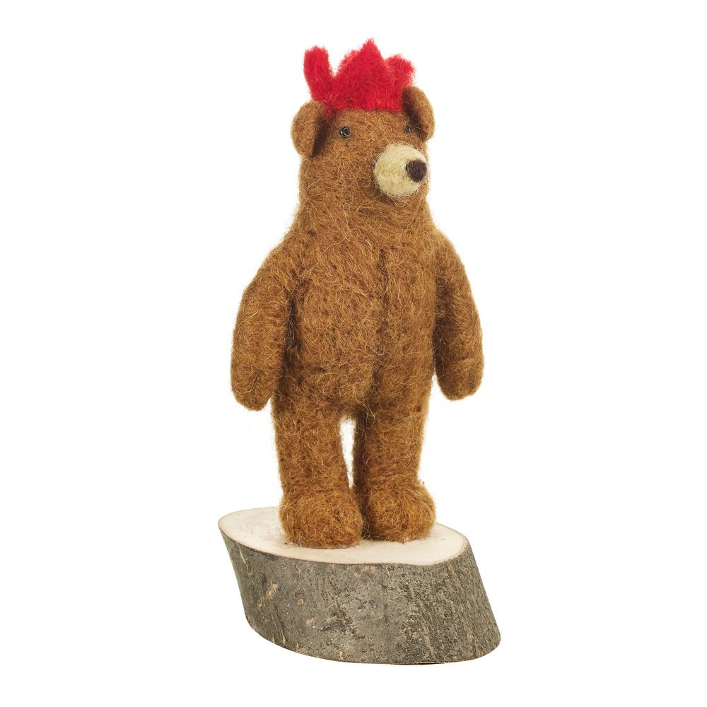 Bear on Wooden Stand,  Handmade Felted Decoration