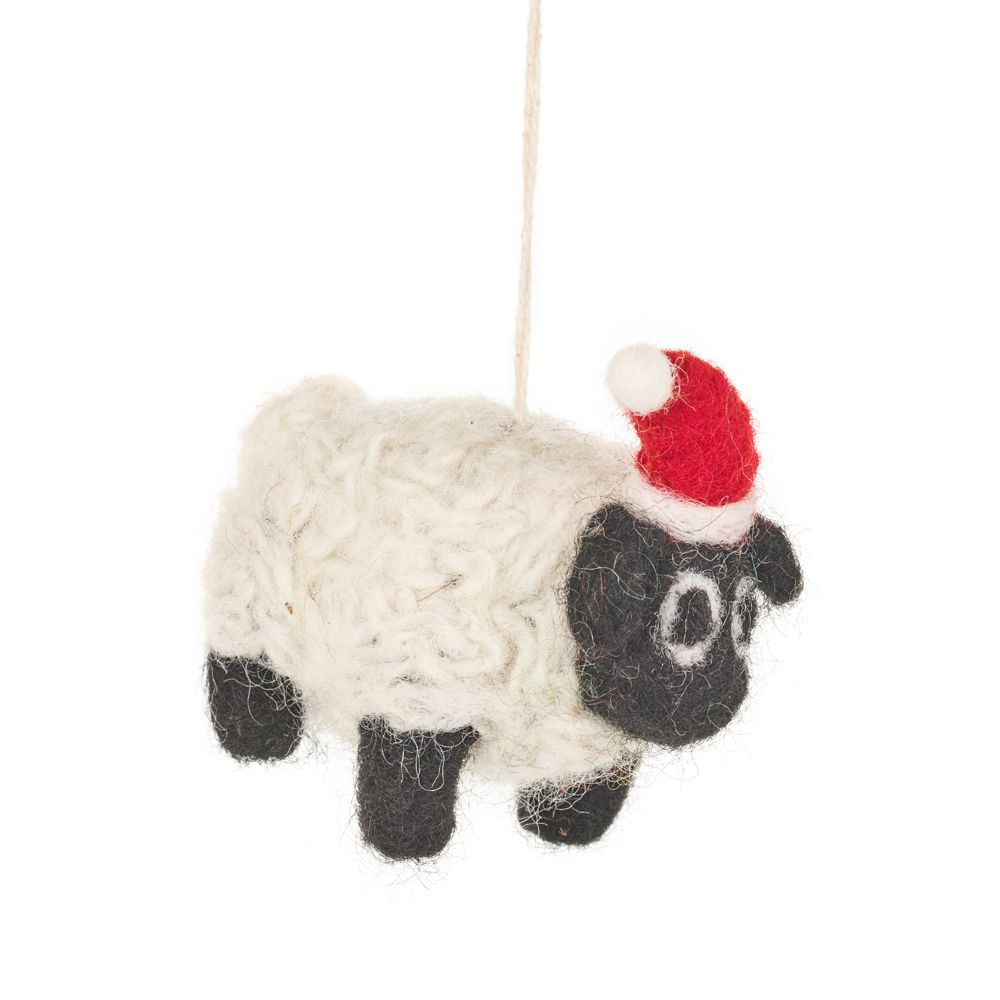 Festive Sheep, Handmade Felted Decoration