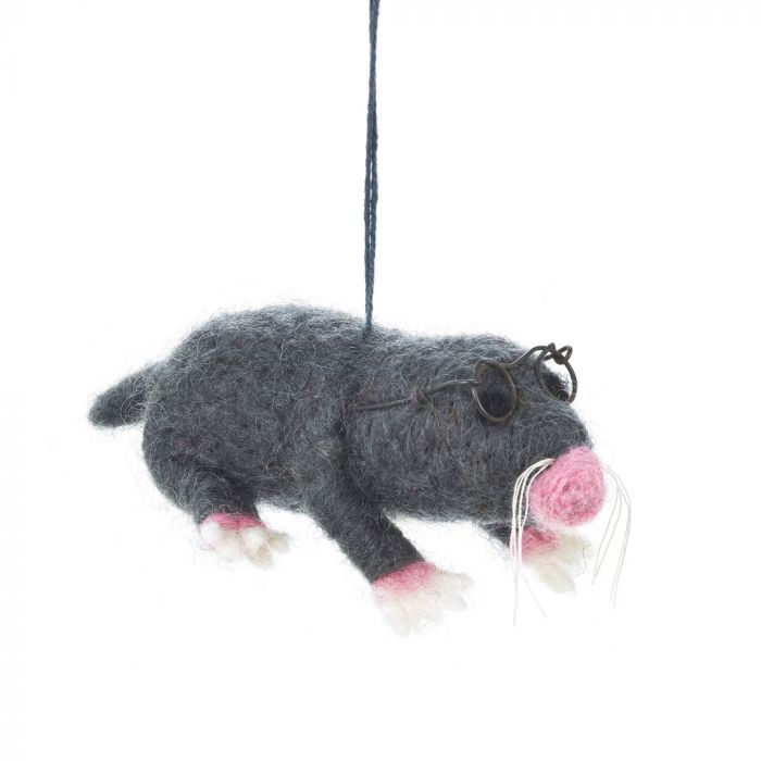 Mole with Specs - Felt Hanging Decoration