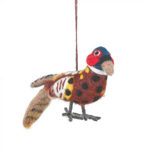 Peter the Pheasant -Handmade Felt Decoration