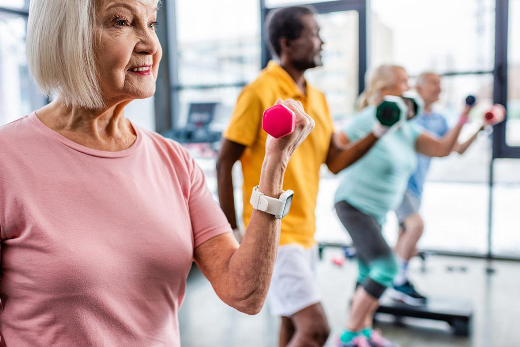 Image of older people exercising with weights