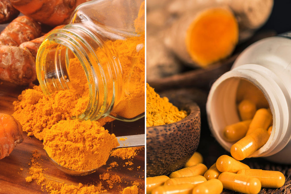 Image of whole root turmeric on the left being compared to turmeric curcumin supplements on the right