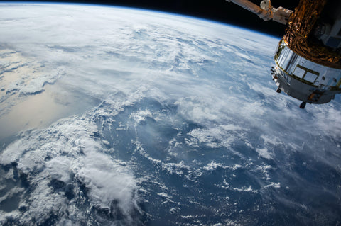 Space station orbiting over earth