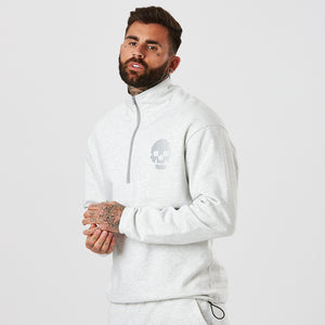 Male Model Wearing Snow Marl Skull 1/2 Zip From The Mens Full Tracksuit