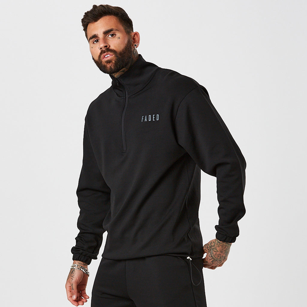 Faded Sport 1/2 Zip Tracktop | Black