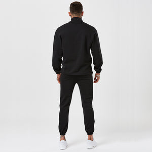 Back View of Male Model Wearing Black Poly Tracksuit