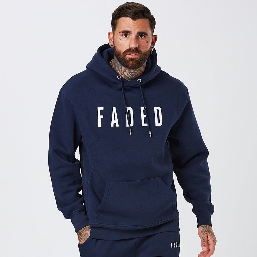 Model Wearing Mens Classic Logo Hoody in Navy