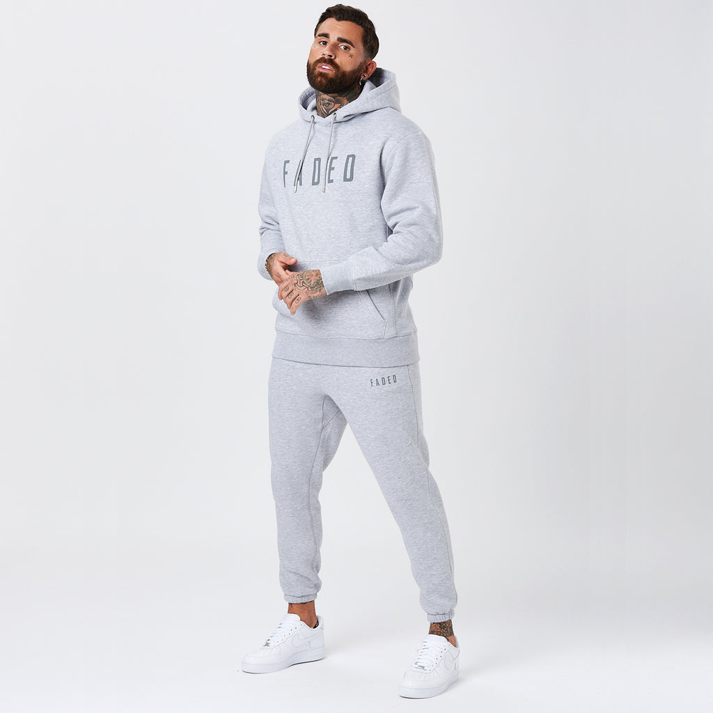 Model Wearing Mens Grey Classic Logo Tracksuit