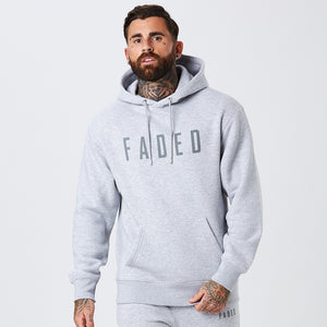 Male Model Wearing Classic Grey Logo Hoody From The Mens Full Tracksuit