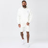 Model Wearing Mens Off-White Skull Logo Hoody with Shorts