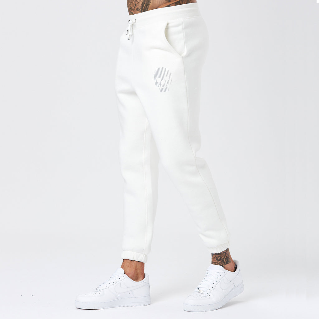 Male Model Wearing Off-White Joggers From Mens Full Skull Logo Tracksuit