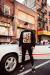Chet Sket wearing graphic jumper in NYC