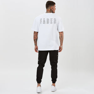 mens oversized white t-shirt with FADED branding on the back