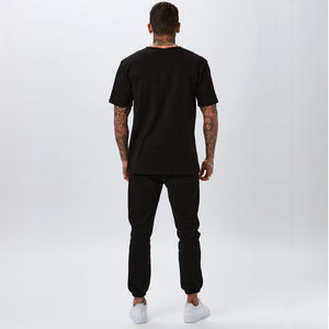 Ringer Tee | Black Peach