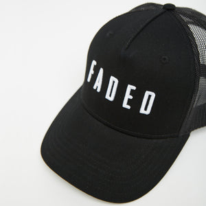 Faded Logo Trucker Cap | Black