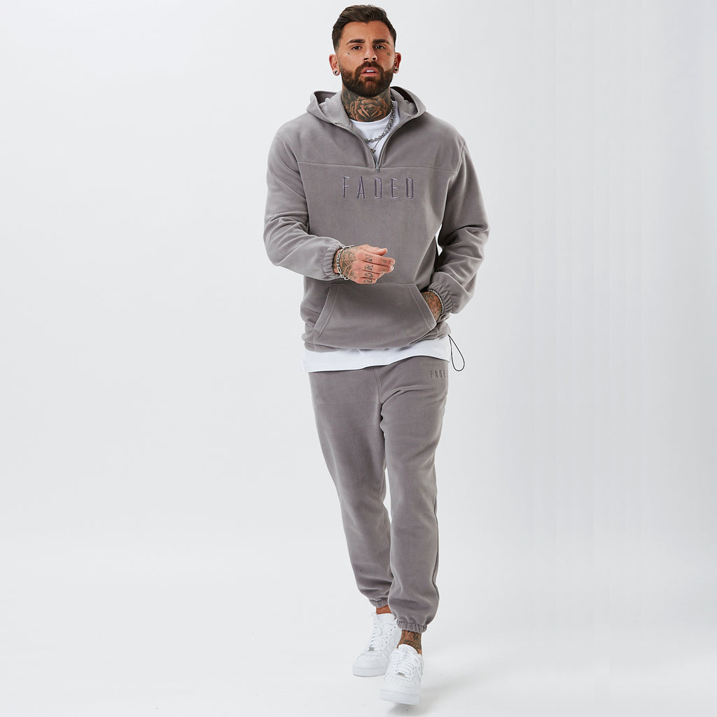 Model Wearing Polar Fleece Tracksuit in Grey