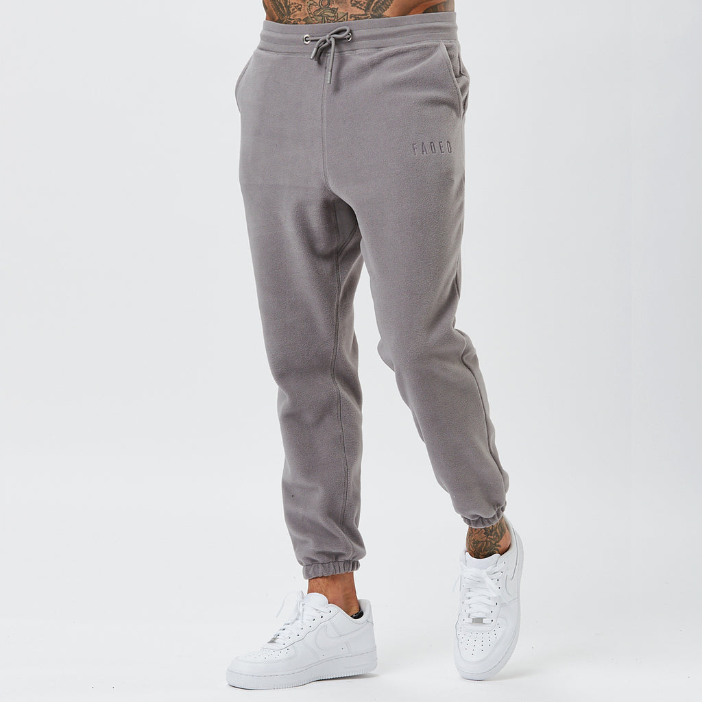 Male Model Wearing Grey Joggers From Polar Fleece Mens Full Tracksuit