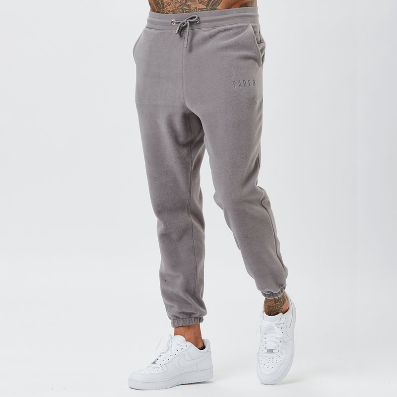Front View of Grey Polar Joggers From Mens Full Fleece Tracksuit