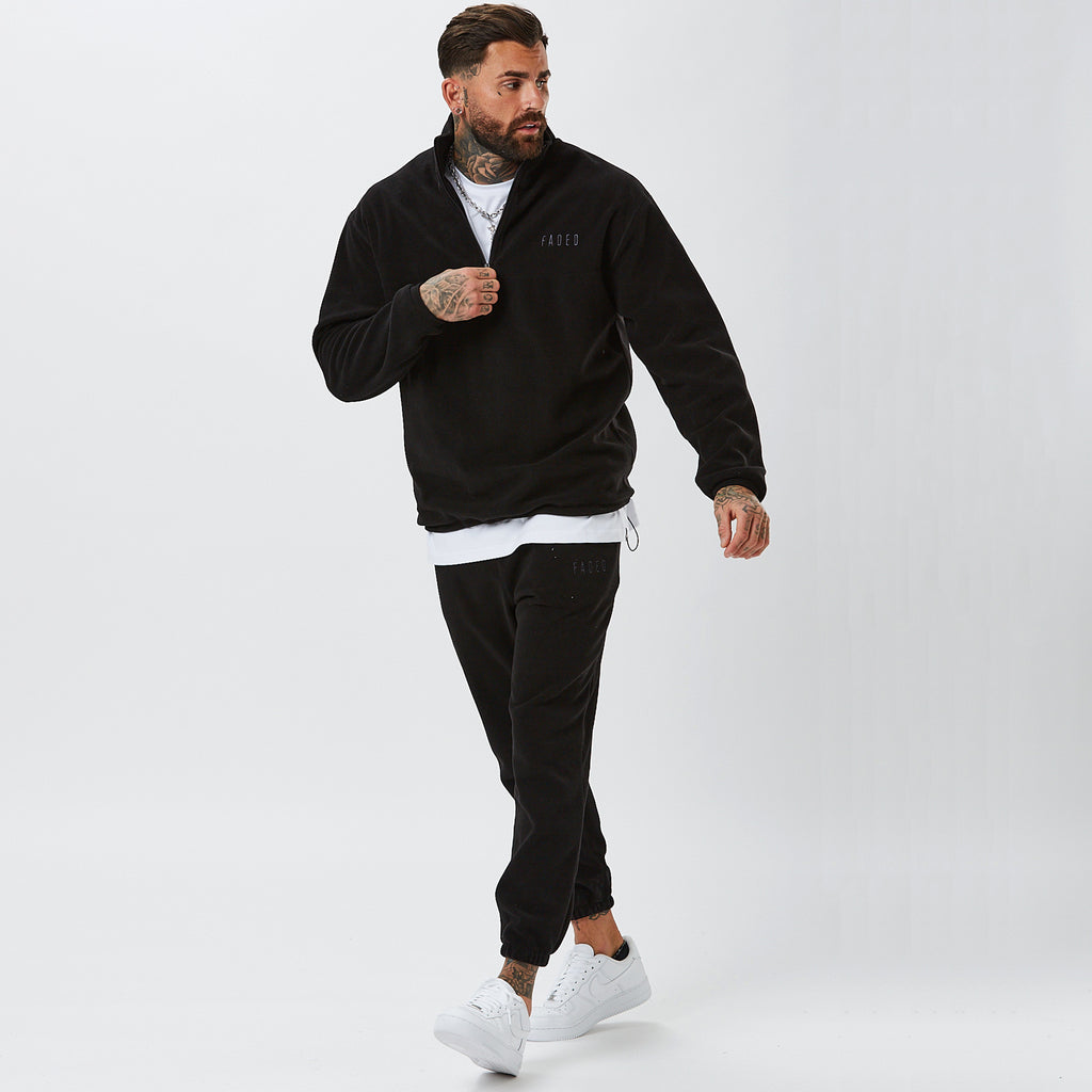 Model Wearing Polar Fleece Mens Full Tracksuit in Black