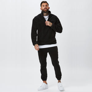 Model Wearing Mens Full Polar Fleece Tracksuit in Black