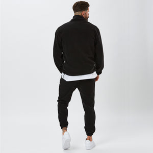 Back View of Polar Fleece Tracksuit in Black