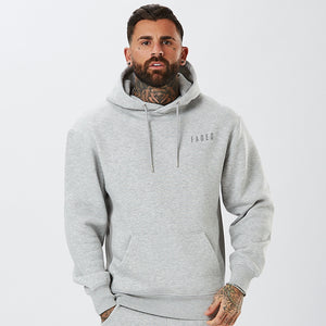 front profile of tonal panelled hoodie in grey