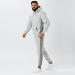 side profile of panelled mens full tracksuit in grey