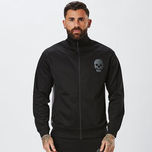 Model Wearing Mens Black Track Top From Mens Poly Tracksuit