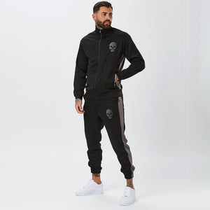 Male Model Wearing Black Mens Full Tracksuit with Grey Stripe